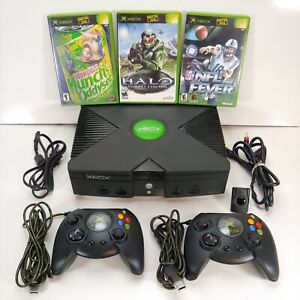 Original Microsoft Xbox Bundle - Console, Cords, 2 Controllers, 3 Games *TESTED*
