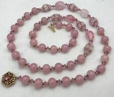 "BEAUTIFUL VINTAGE MIRIAM HASKELL PINK GLASS BEADED NECKLACE 29"" LONG O50"
