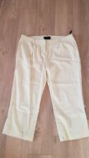Ladies Cropped Stone Linen Trousers, Size 14