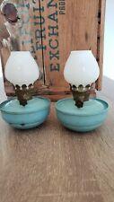 2 Vintage Antique Mini Blue Tin & Milk Glass Oil Kerosene Lamps Mini