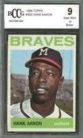 Hank Aaron Card 1964 Topps #300 Milwaukee Braves BGS BCCG 9