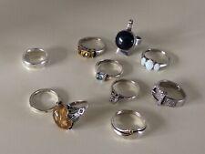 JOB LOT STERLING SILVER RINGS SOME LITTLE DIAMONDS. OPAL. LAPIS. CITRINE & More