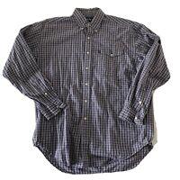 Polo Ralph Lauren Creek Men's Blue Plaid L/S Button Front Shirt Size Large