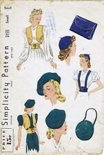 Simplicity # 3155 BERET Hat Bag Bolero Fabric Sewing Pattern 40's Fashion SMALL