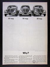 1960 Volkswagen VW Beetle photo 32 50 28 MPG why? vintage print Ad
