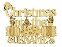 Oak Veneer Personalised Christmas At The Sign with Christmas Shapes and Cracker