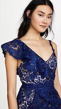 Alice + Olivia Florrie Ruffle Lace Midi Dress Blue Guipure Size 10 NWT