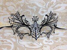 Black Dragon Metal Laser Cut Venetian Masquerade Mask with Clear Stones