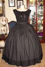 Civil War~Victorian Jett Black Mourning Overhoop Petticoat & Chemise Set~Plus Sz