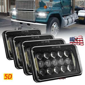 Newest 4pc 4x6 5D Led Headlight Hi-Lo Halo DRL Beam for Western Star 4900 Semi