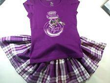 TCP Purple Sequin Perfume Bottle Top Plaid Twirl Skort 5/6 6X/7 Outfit Lot G2