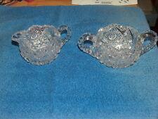 Cut Glass Creamer Sugar Bowl  Lead ? Crystal Saw Tooth Rims Star Design Cear