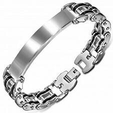 Modern Stainless Steel & Black Rubber Bike Chain Link ID Bracelet by Urban Male