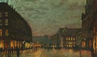 Beautiful oil painting John Atkinson - Street Scene in sunset landscape canvas