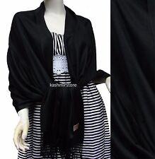 NEW Women Soft PASHMINA Cashmere SILK Classic Solid Shawl Scarf Wrap Black #W01