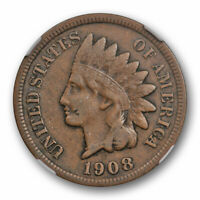 1908 S 1c Indian Head Cent NGC VF 25 Very Fine to Extra Fine Original Cert#5011