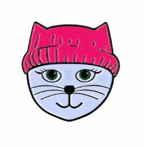 Matt Stewart, Pink Hat Cat, Officially Licensed, Designed ENAMEL PIN - 1.15""