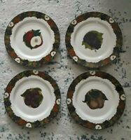 NEW Set of 4 Lancheon Plates Dansk Cornucopia Dinnarware Fruit  Pattern Portugal