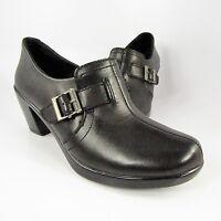 Eastland T-Strap Buckle Clogs Womens Size 7M Black Leather Slip-On Shootie Pumps