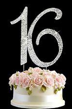 Diamante Rhinestone Gem Cake Pick Topper Birthdays Anniversary Silver Number 16