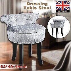 Retro Bedroom Chair Dressing Table Stool Velvet Vanity Studded Design Wooden Leg