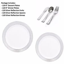 600 pc Party Set 120 Settings Dessert+Dinner Plates+Cutlery White/Silver Diamond