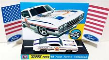 Hot Wheels 1969 FORD TORINO TALLADEGA White Model Car on Custom Repro Display