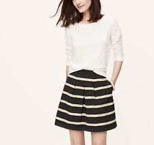 Ann Taylor Loft Corded Stripe Pleat Skirt 12P NWT