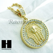 "GOLD PLATED KING TUT PHARAOH CZ ROUND PENDANT HIP HOP 24"" ROPE CHAIN NECKLACE"