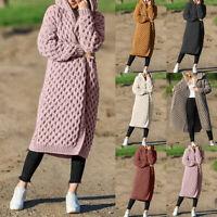 Women's Knitted Long Sleeve Hooded Cardigan Sweater Coat Jumper Winter Outwear