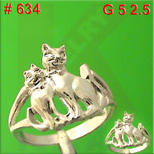 #634 Cat Kitten Aristocat Family Ring Finger Hand Jewelry 925 Sterling Silver