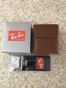 New RayBan Brown Wayfarer Folding Sunglasses Case w/ cleaning cloth