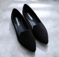 New Womens Casual Flats Shoes Casual Pointy Toe Shoes Pull On Loafers Black Soft