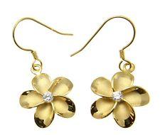 PLATA 925 baádo en oro amarillo HAWÁI Plumeria Pendientes de flor Alambre CZ