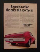 "1970 American AMX AMC Javelin *Original*Ready to Display"" ad"