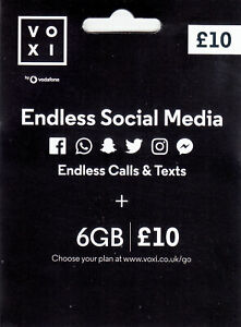 VOXI SIM Card Endless Social Media, & Unlimited Calls and Texts with 6GB for £10
