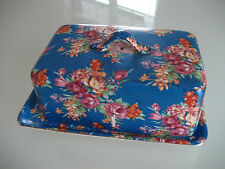 VINTAGE FLORAL ROYAL BLUE LIDDED BUTTER DISH MADE IN JAPAN