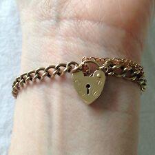 Vintage 1940s 9ct GOLD 375 HEART PADLOCK CURB CHAIN BRACELET  9.52g , 21cm