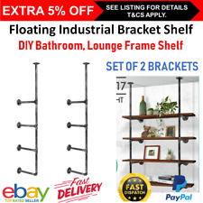 Industrial Wall Pipe Floating Shelf Display Shelving Bathroom Timber Rack Unit