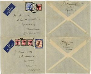 WW2 BRITISH EGYPT 1940 AIRMAIL 2 COVERS JUBA FRANKINGS SURCHARGES to WALLASEY GB