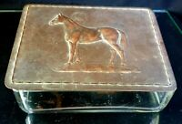 Antique Bronze Horse And Glass Box