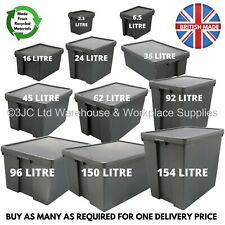 More details for wham bam black heavy duty plastic storage box boxes with lids - recycled plastic