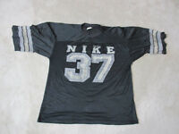 VINTAGE Nike Football Jersey Adult Large Black Silver Gray Tag Made USA Mens 80s