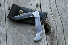 DAMASCUS Knife CUSTOM HANDMADE Forged HUNTING BOWIE PURPLE BONE HANDLE SHIPS USA