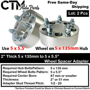 "2P 2"" THICK 5x135mm to 5x5.5"" WHEEL ADAPTER SPACER FIT 12x1.75 STUD FORD LINCOLN"