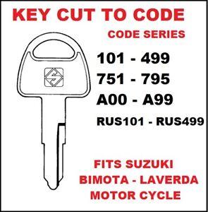 Key Cut To Code for Suzuki Bimota Laverda Motor cycle Key
