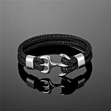 Stainless Steel Bracelet Leather Woven Anchor Rope Braided Wrist For Men Women