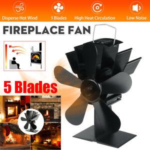 5 Blades Wood Log Burner Heater Eco Black Fan Stove Fireplace Fire Heat Powered