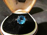 Beautiful Vintage Rare Quality Solid Palladium & Blue Topaz Ring