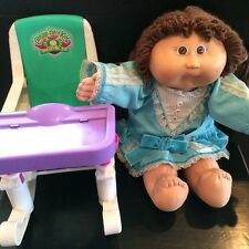 Vtg Cabbage Patch Kids Doll with Feeding Rocking High Chair Seat Mattel Toy 1996